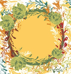 Set of prints of leaves on an orange background vector