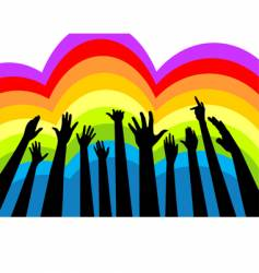 Cheering crowd colorful vector