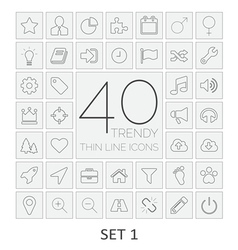 40 thin line icons set 1 vector
