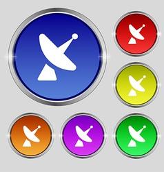 Satellite dish icon sign round symbol on bright vector