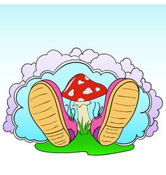 Cartoon pink shoes with poison mushroom vector