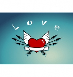 Heart with arrows and wings vector