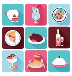 Restaurant food icons flat vector