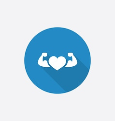 Heart with muscle arms flat blue simple icon with vector