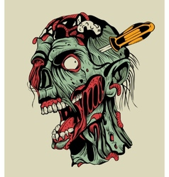 Zombie head with a screwdriver vector