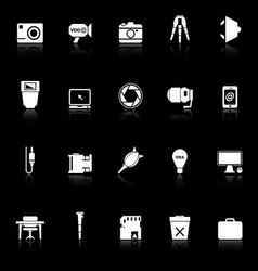 Photography related item icons with reflect on vector