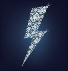 Lightning icon made a lot of diamonds vector