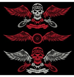 Biker theme labels with wheelbike and skulls with vector