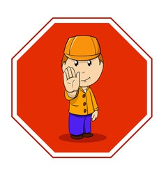 Cartoon warning sign stop with man in orange vector