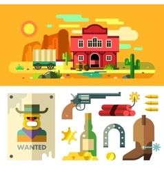 Wild west landscape icons and objects flat vector