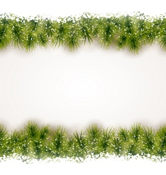 Seamless border of fir twigs with snow vector