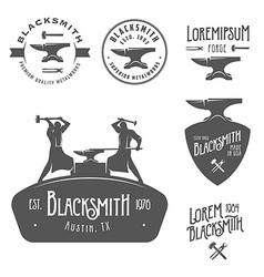 Set of vintage blacksmith design elements vector