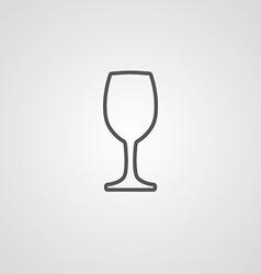 Wineglass outline symbol dark on white background vector
