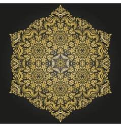 Damask pattern orient golden ornament vector