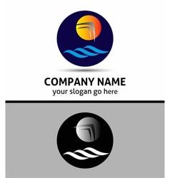 Sea and the sun with birds logo vector