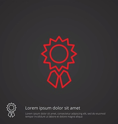 Achievement outline symbol red on dark background vector