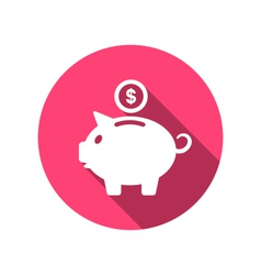 Flat icons of piggy bank concept long shadow style vector