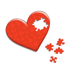 Heart consisting of puzzles vector