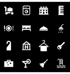White hotel icon set vector