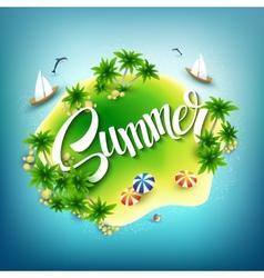 Headline summer tropical island in the blue sea vector