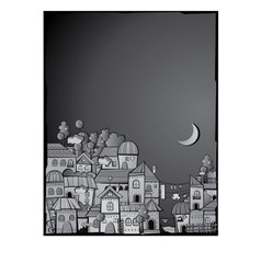 Cartoon construction night town vector