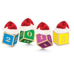 2015 made from toy blocks with christmas hats vector