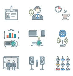 Outline colored conference concept icons set vector