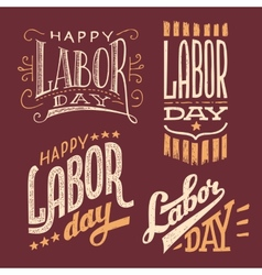 Labor day vintage hand-lettering designs vector