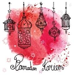 Lantern of ramadan kareemdoodlewatercolor red vector
