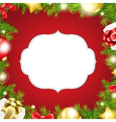 Christmas background with label and ribbon vector