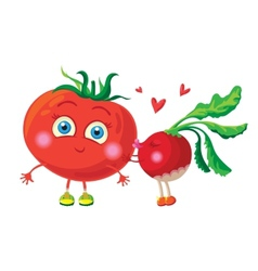 Radish in love with tomato characters vector