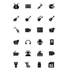 Music solid icons 3 vector