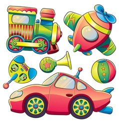 Transportation toys collection vector