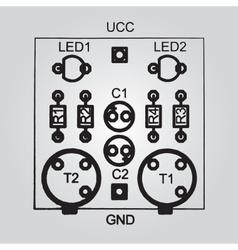 Printed circuit board through-hole technology vector