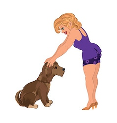 Cartoon woman in purple outfit with dog vector