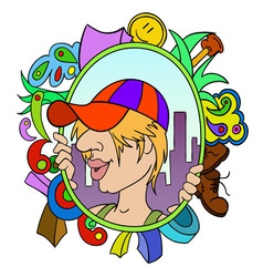 Cartoon teen in cap with abstract urban background vector