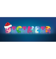 December written with alphabet puzzle with vector