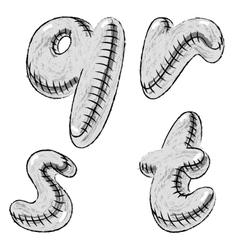 Grunge charcoal doodle font letters qrst vector