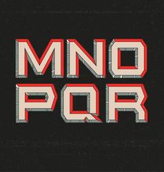80s retro futuristic font from m to r vector