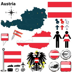Austria blue map vector