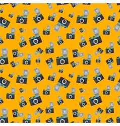 Lomography film camera on orange background vector
