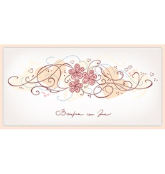 Cute pink flowers vintage background vector