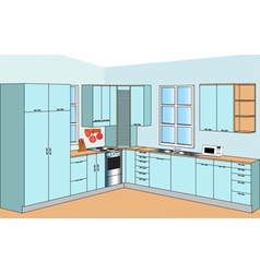 Furniture for interior of the kitchens of the blue vector
