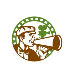 Movie director bullhorn vintage movie camera retro vector