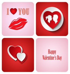 Valentine red decoration card made from white vector