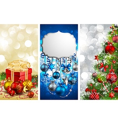 Christmas banners with baubles vector