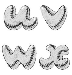 Grunge charcoal doodle font letters uvwx vector