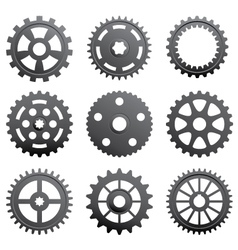A set of gears and pinions vector