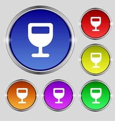Wine glass alcohol drink icon sign round symbol on vector