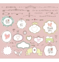 Doodle labels badgesframeborderdecor element vector